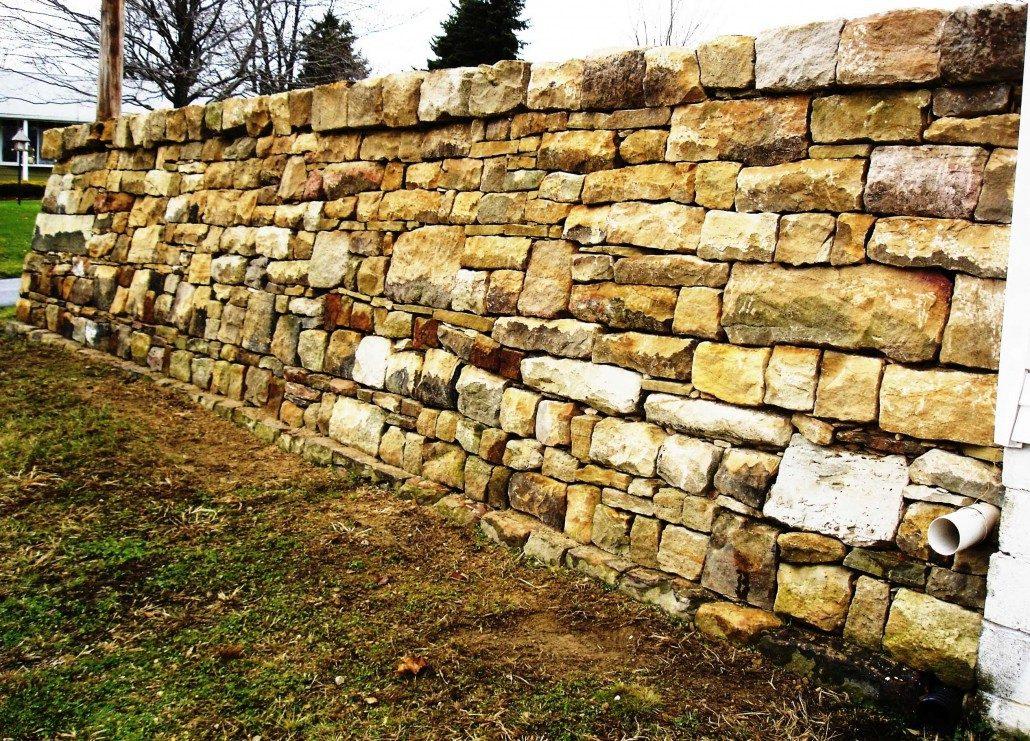 restored stone retaining wall