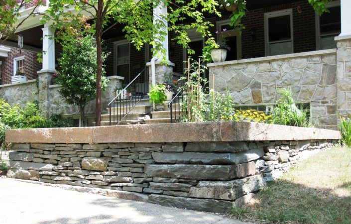 Sandstone and Granite Sitting Wall, Maryland 2009