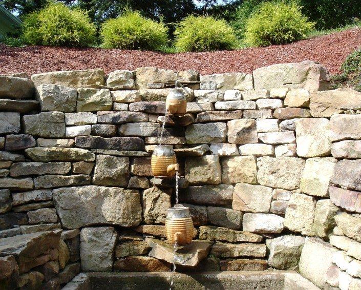 rock walkways, water features