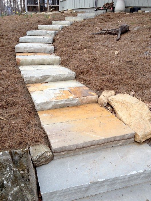 how to build stone steps on a hill