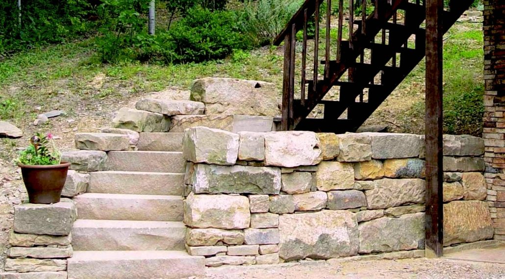 Sandstone Steps with Retaining Wall, Pennsylvania, 2009