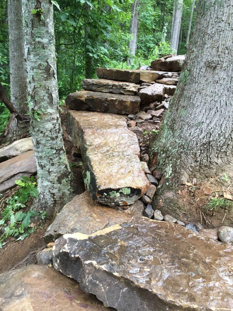 Granite and Sandstone Boulder Walkway with Steps, North Carolina 2016