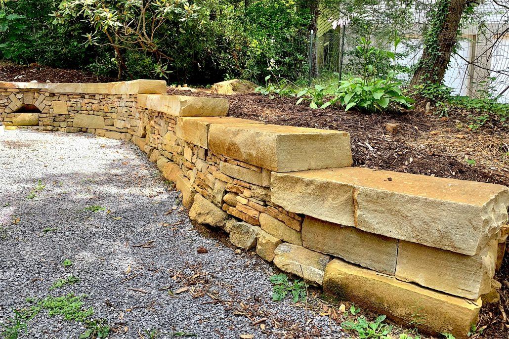 Mixed Stone Retaining Wall, North Carolina, 2019