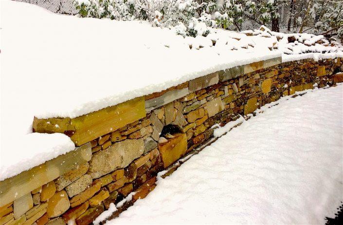 Mixed Stone Retaining Wall with Arches, North Carolina, 2018