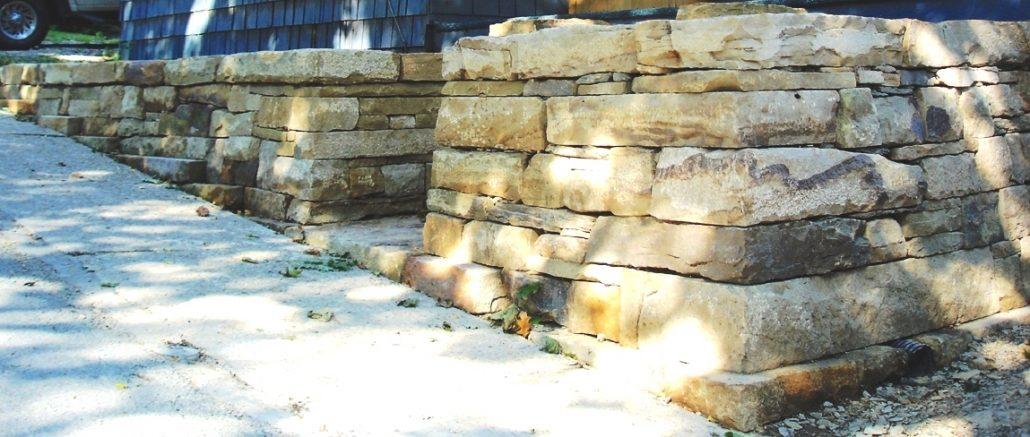 Sandstone Retaining Walls on Sloped Face, Pennsylvania, 2007