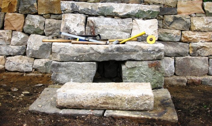 Salvaged Sandstone Bench and Fency, Pennsylvania 2010