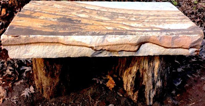 Sandstone Bench on Locust Trunks, North Carolina 2017