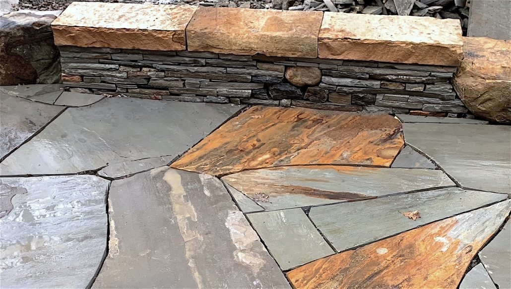 Sandstone and Granite Sitting Wall with Sandstone Patio, North Carolina, 2018