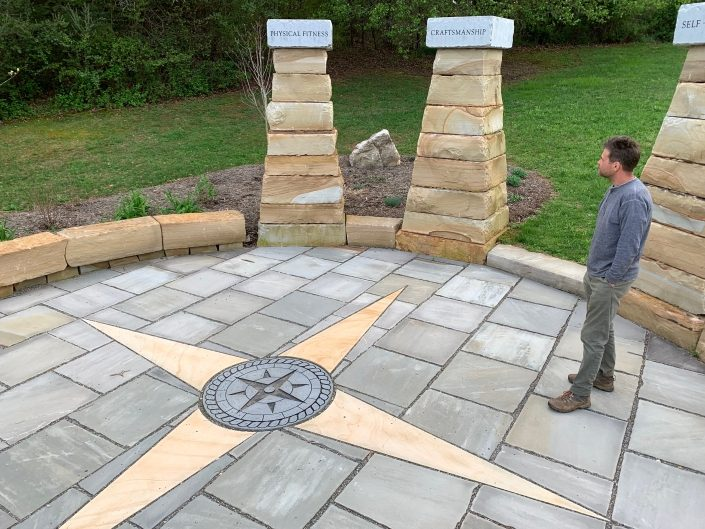 Sandstone and Granite Patio with Compass Rose, Benches, and Columns, North Carolina 2017