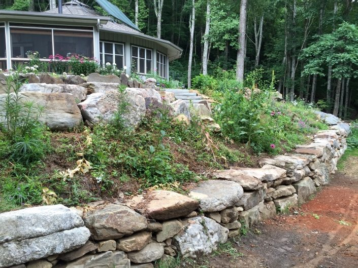 Granite and Sandstone Terraced Boulder Sitting Walls, North Carolina 2016