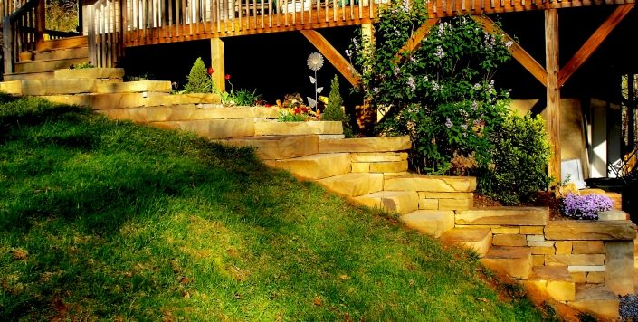 Sandstone Sitting Wall with Steps, North Carolina 2008