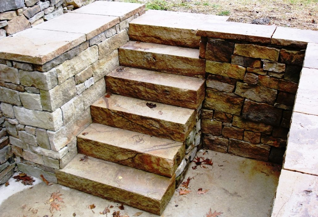 Sandstone Drystone Steps and Mortared Sandstone Wall, Pennsylvania 2006