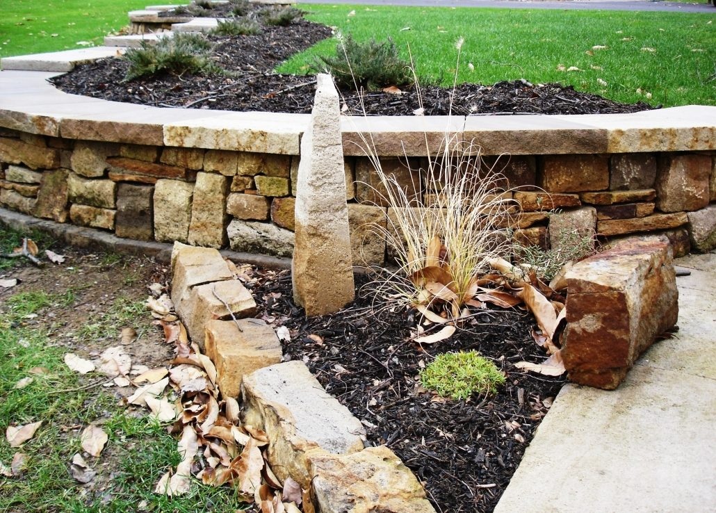 Sandstone Vertical with Plants, Sitting Wall, Edging, Pennsylvania 2004