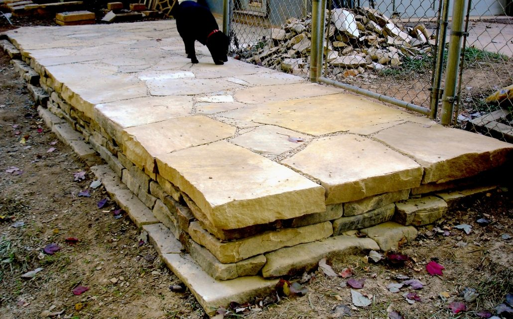 Sandstone Patio on Retaining Wall, North Carolina, 2007